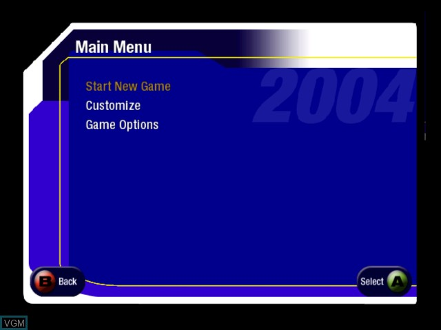 Menu screen of the game AMF Bowling 2004 on Microsoft Xbox