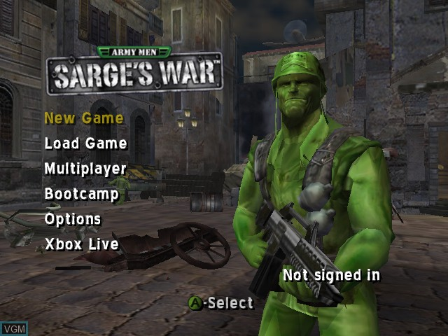Menu screen of the game Army Men - Sarge's War on Microsoft Xbox