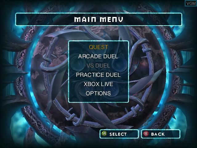 Menu screen of the game Magic - The Gathering - Battlegrounds on Microsoft Xbox