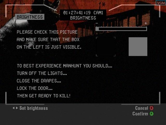 Menu screen of the game Manhunt on Microsoft Xbox