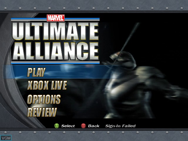 Menu screen of the game Marvel - Ultimate Alliance on Microsoft Xbox