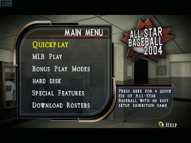 Menu screen of the game All-Star Baseball 2004 on Microsoft Xbox