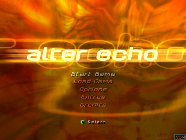 Menu screen of the game Alter Echo on Microsoft Xbox