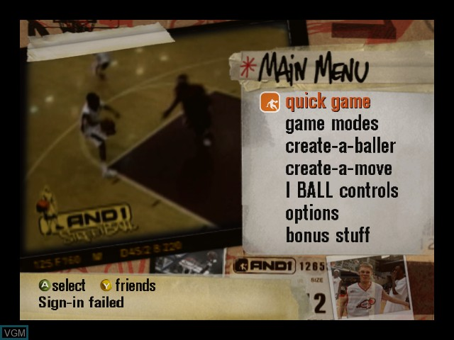 Menu screen of the game And 1 Streetball on Microsoft Xbox