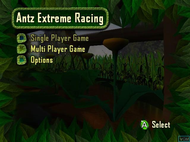 Menu screen of the game Antz Extreme Racing on Microsoft Xbox