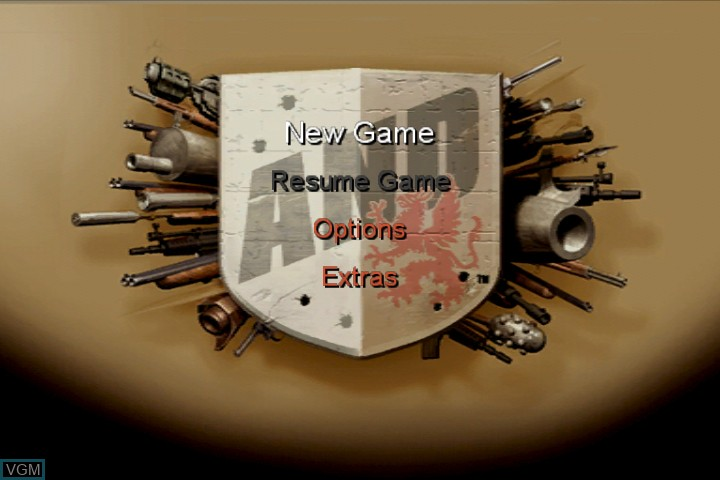 Menu screen of the game Armed and Dangerous on Microsoft Xbox