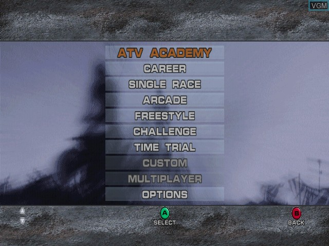 Menu screen of the game ATV Quad Power Racing 2 on Microsoft Xbox