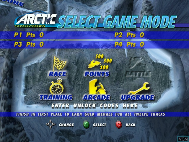 Menu screen of the game Arctic Thunder on Microsoft Xbox