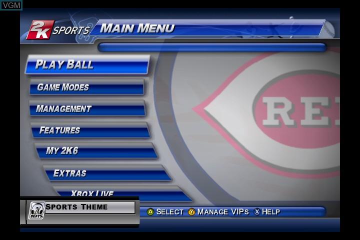 Menu screen of the game Major League Baseball 2K6 on Microsoft Xbox