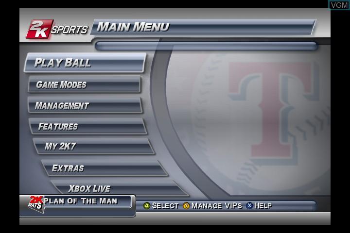 Menu screen of the game Major League Baseball 2K7 on Microsoft Xbox