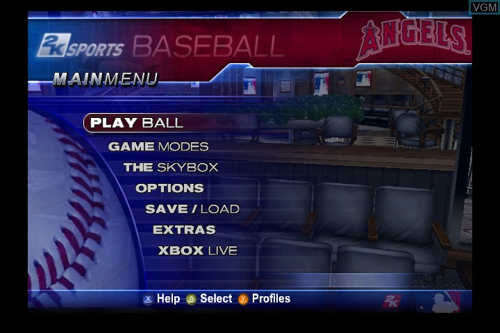 Menu screen of the game Major League Baseball 2K5 - World Series Edition on Microsoft Xbox