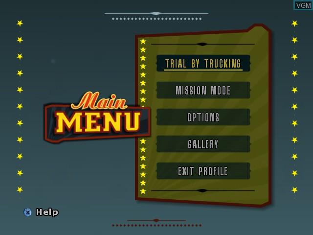 Menu screen of the game Big Mutha Truckers 2 on Microsoft Xbox