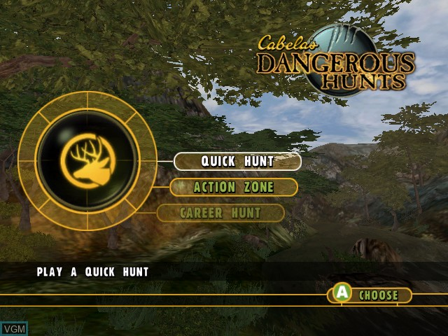 Menu screen of the game Cabela's Dangerous Hunts on Microsoft Xbox