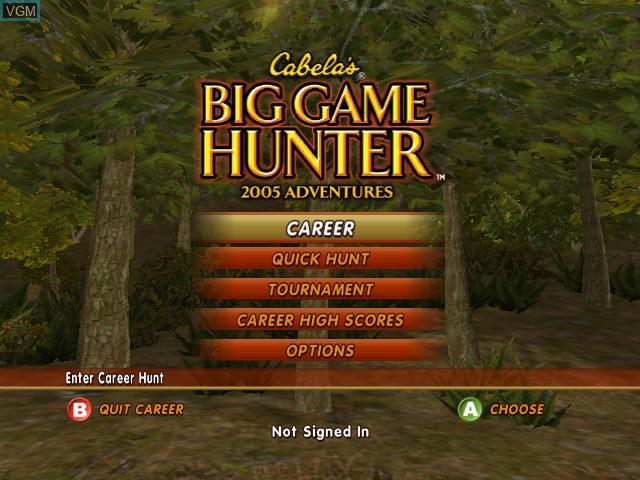 Menu screen of the game Cabela's Big Game Hunter 2005 Adventures on Microsoft Xbox