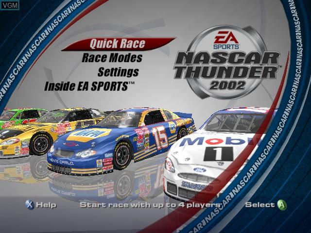 Menu screen of the game NASCAR Thunder 2002 on Microsoft Xbox