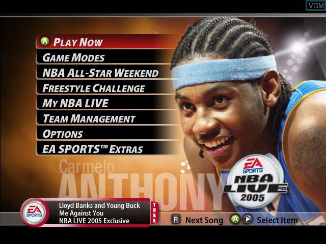 Menu screen of the game NBA Live 2005 on Microsoft Xbox