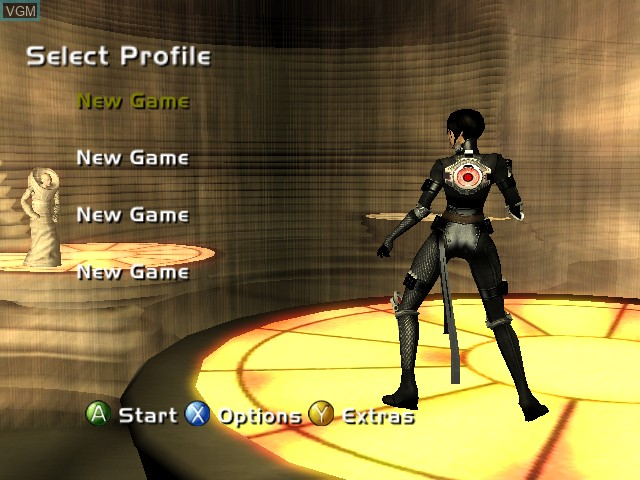 Menu screen of the game Aeon Flux on Microsoft Xbox