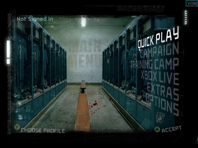 Menu screen of the game Blitz - The League on Microsoft Xbox