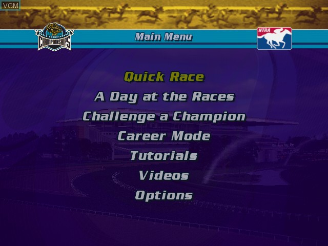 Menu screen of the game Breeders' Cup World Thoroughbred Championships on Microsoft Xbox