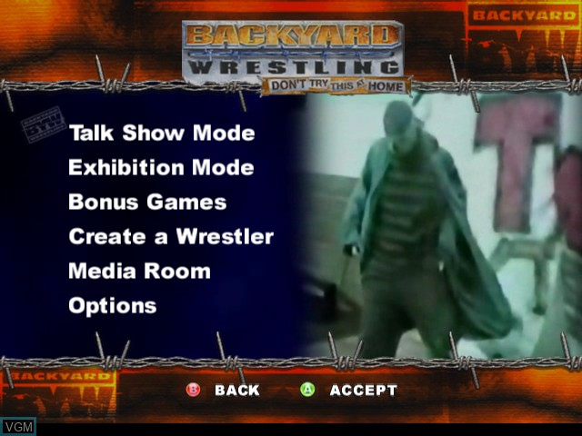 Menu screen of the game Backyard Wrestling - Don't Try This at Home on - Backyard Wrestling - Don't Try This At Home For Microsoft Xbox - The