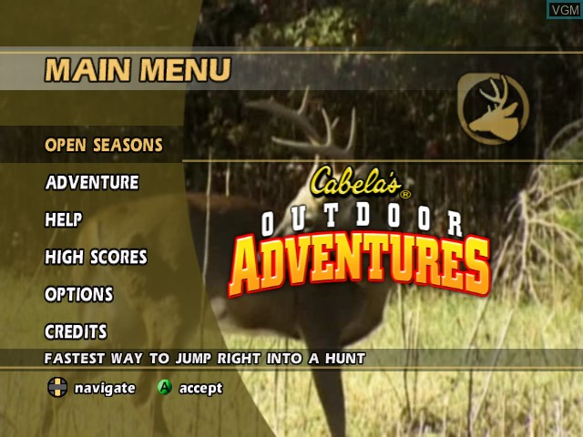 Menu screen of the game Cabela's Outdoor Adventures on Microsoft Xbox