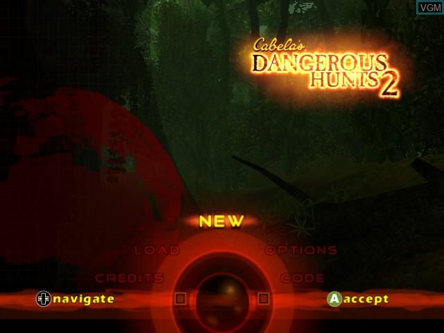 Menu screen of the game Cabela's Dangerous Hunts 2 on Microsoft Xbox