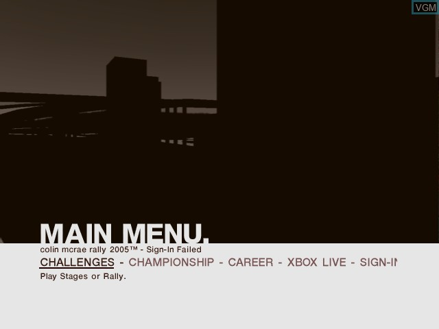 Menu screen of the game Colin McRae Rally 2005 on Microsoft Xbox