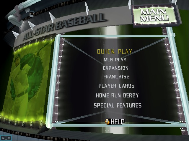 Menu screen of the game All-Star Baseball 2003 on Microsoft Xbox