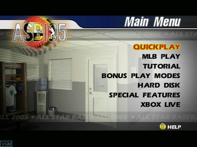 Menu screen of the game All-Star Baseball 2005 on Microsoft Xbox
