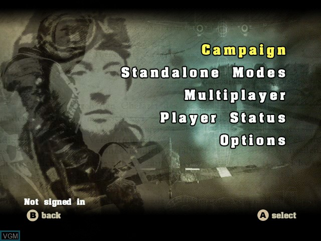 Menu screen of the game Blazing Angels - Squadrons of WWII on Microsoft Xbox