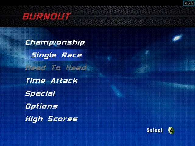 Menu screen of the game Burnout on Microsoft Xbox