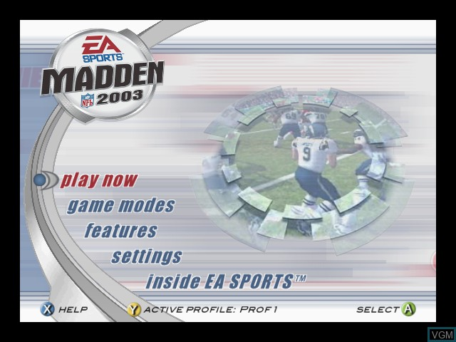 Menu screen of the game Madden NFL 2003 on Microsoft Xbox