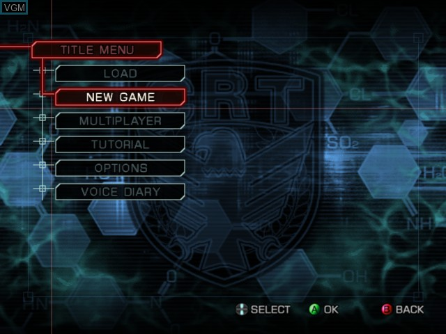Menu screen of the game WinBack 2 - Project Poseidon on Microsoft Xbox