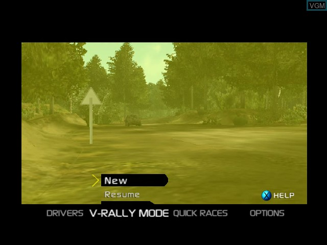 Menu screen of the game V-Rally 3 on Microsoft Xbox