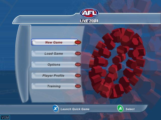 Menu screen of the game AFL Live 2004 on Microsoft Xbox