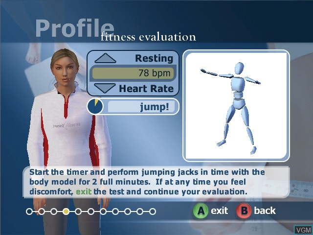 Menu screen of the game Yourself!Fitness on Microsoft Xbox