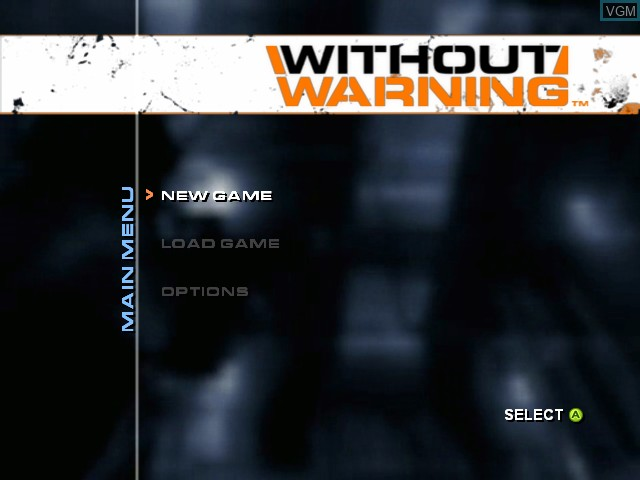 Menu screen of the game Without Warning on Microsoft Xbox