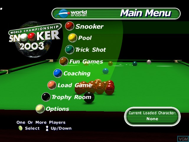 Menu screen of the game World Championship Snooker 2003 on Microsoft Xbox