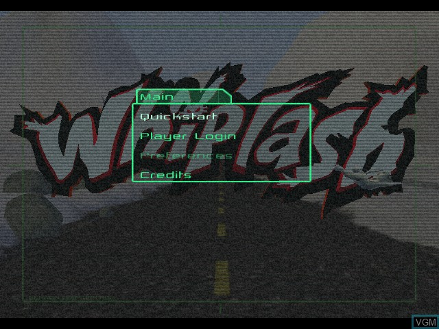 Menu screen of the game Whiplash on Microsoft Xbox