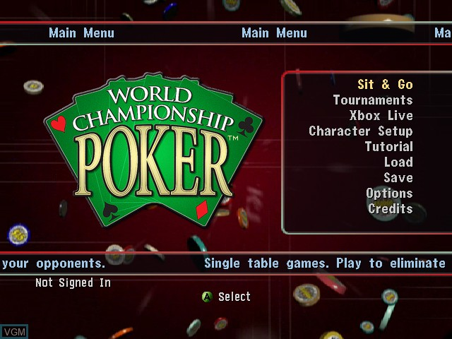 Menu screen of the game World Championship Poker on Microsoft Xbox