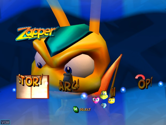 Menu screen of the game Zapper on Microsoft Xbox
