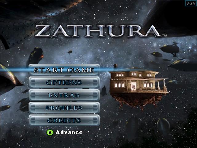 Menu screen of the game Zathura on Microsoft Xbox