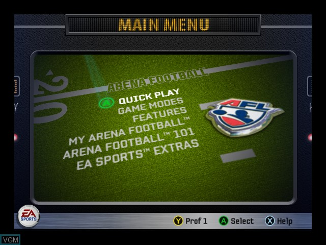 Menu screen of the game Arena Football on Microsoft Xbox