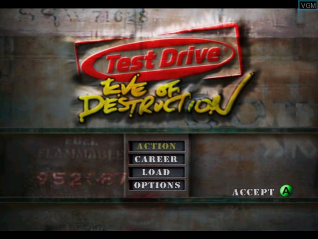 Menu screen of the game Test Drive - Eve of Destruction on Microsoft Xbox