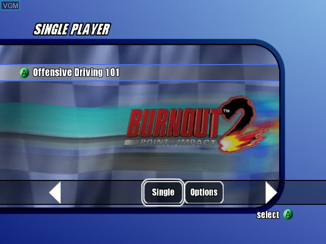 Menu screen of the game Burnout 2 - Point of Impact on Microsoft Xbox