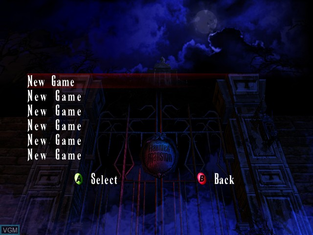 Menu screen of the game Haunted Mansion, The on Microsoft Xbox