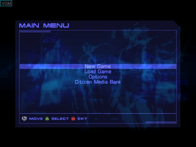 Menu screen of the game Headhunter - Redemption on Microsoft Xbox