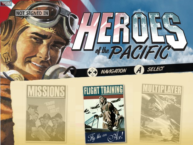 Menu screen of the game Heroes of the Pacific on Microsoft Xbox