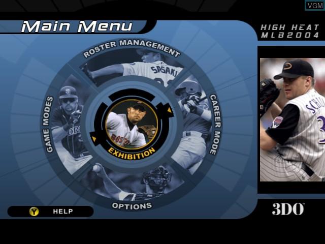 Menu screen of the game High Heat Major League Baseball 2004 on Microsoft Xbox