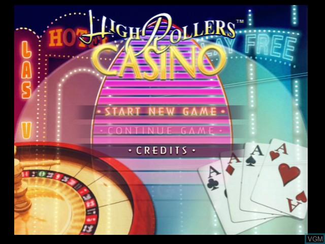 Menu screen of the game High Rollers Casino on Microsoft Xbox
